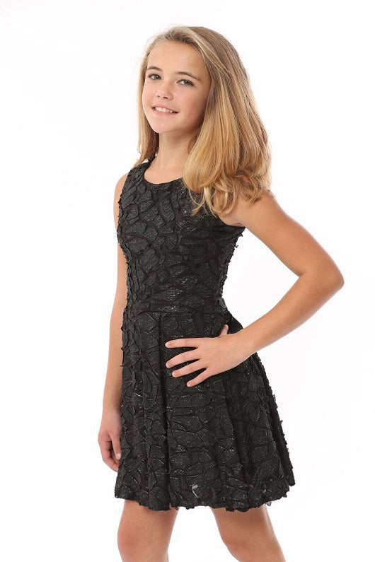 3D Black Pebble Adrianna Dress
