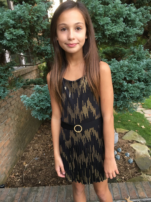Black Belted Gold Sequin Fringe  Dress