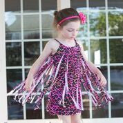 Pink/Black Cheetah Fringe Dress