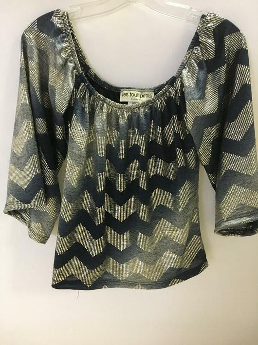 NAVY METALLIC ZIG ZAG ON/OFF SHOULDER TOP