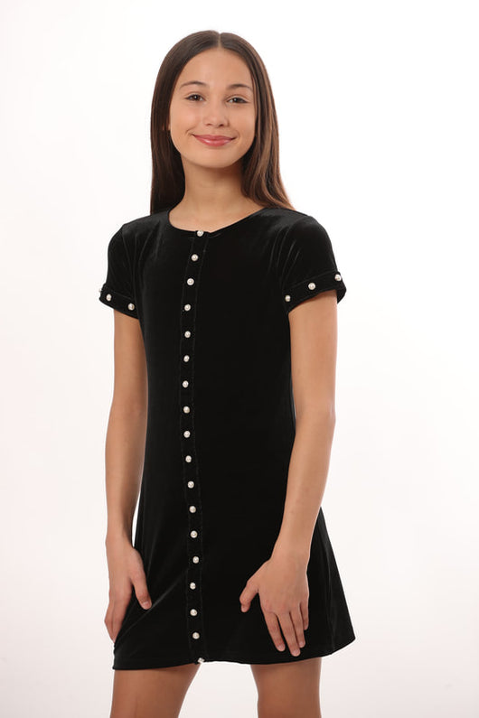BLACK VELVET S/S DRESS PEARL TRIM