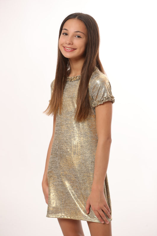 GOLD DUST  S/S DRESS RUFFLE