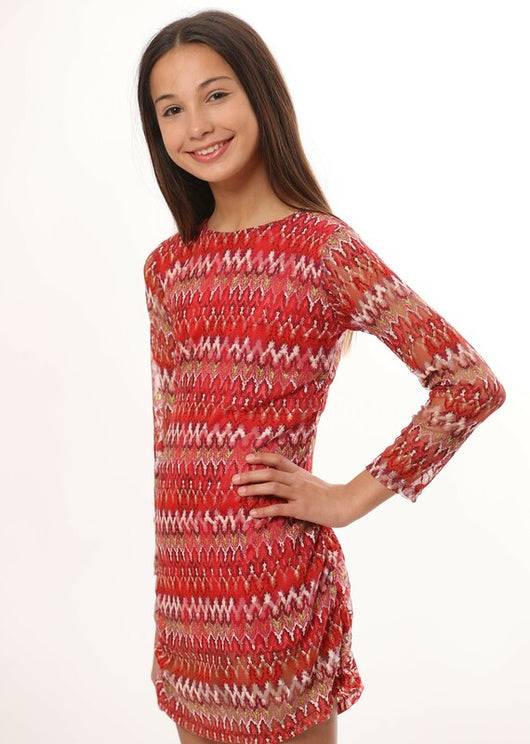 CHERRY ZIG ZAG L/S RUSCHED DRESS