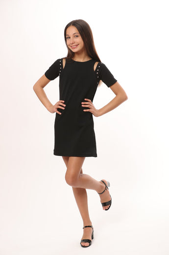 BLACK SLIT SLEEVE DRESS STUDS
