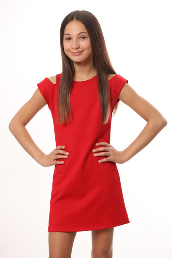 RED SLIT CAP SLEEVE DRESS