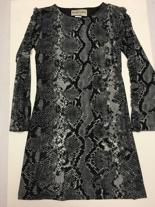CHARCOAL SNAKE L/S DRESS/RUFFLE