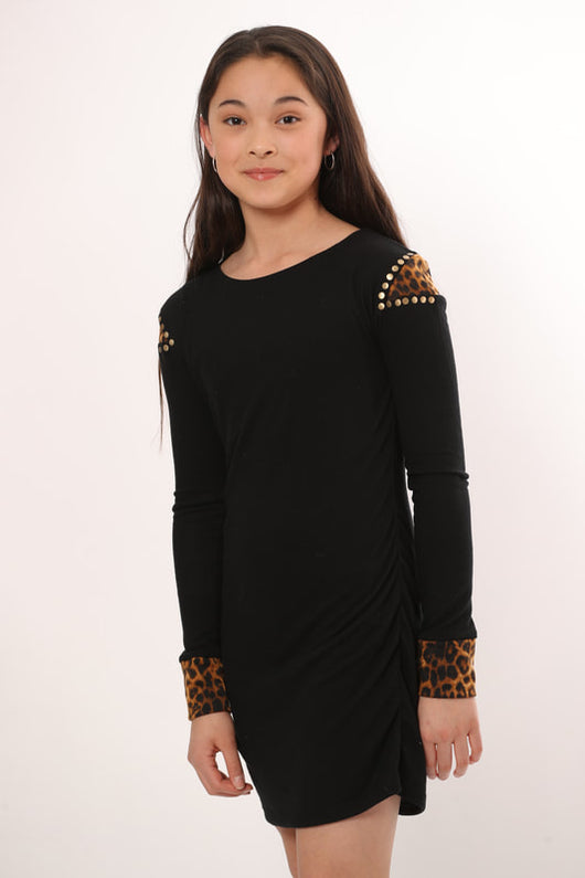 BLACK-LEOPARD INSERT SHOULDER THUMB DRESS