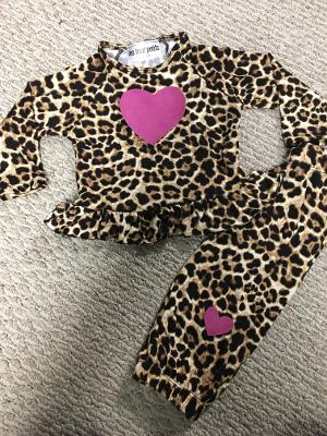 Leopard ruffle infant set with rose goatskin hearts