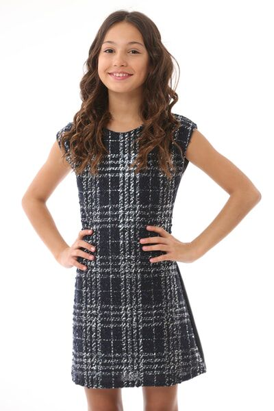 Navy Plaid Navy Fall Sheath Dress
