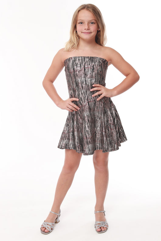 Sleeveless Meticllic Twig Party Dress