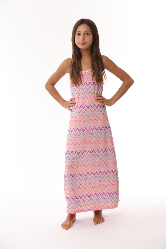 PINK ZIG ZAG RESORT MAXI DRESS