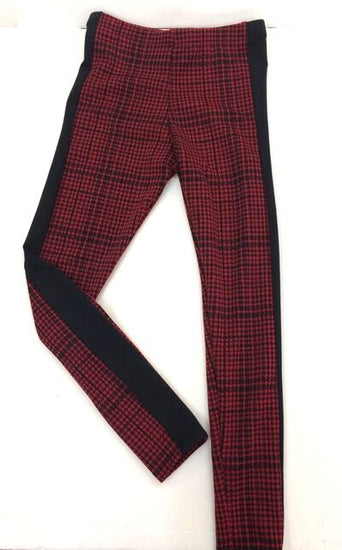 Red Houndstooth Black Side Insert Legging