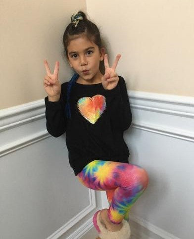 Black Smush Rainbow Studded Heart/ Rainbow legging set