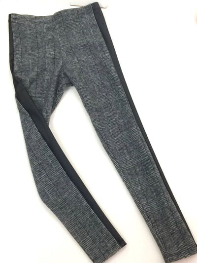 Charcoal Plaid Knit Black Side Insert Legging