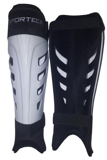 Sporteck - White Slip In Style Shinguard with Velcro