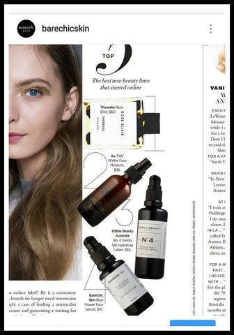 Hapers Bazaar Australia. BareChic Skin Blue flower serum featured. anti inflammatory hydrating micro batch formula from the west coast of Ireland
