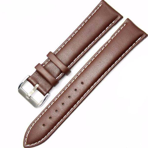 Genuine Leather Watch Strap - Brown & White, Band Width - 18mm