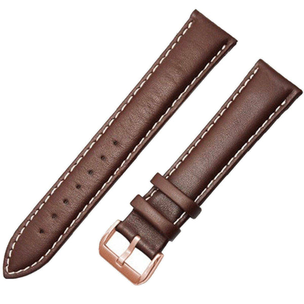 Genuine Leather Watch Strap - Brown & White, Band Width - 20mm - Watch Straps - 98apparel
