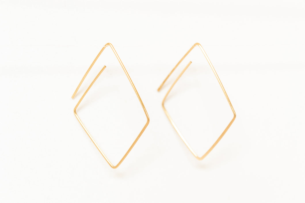 Geo Diamond Hoops
