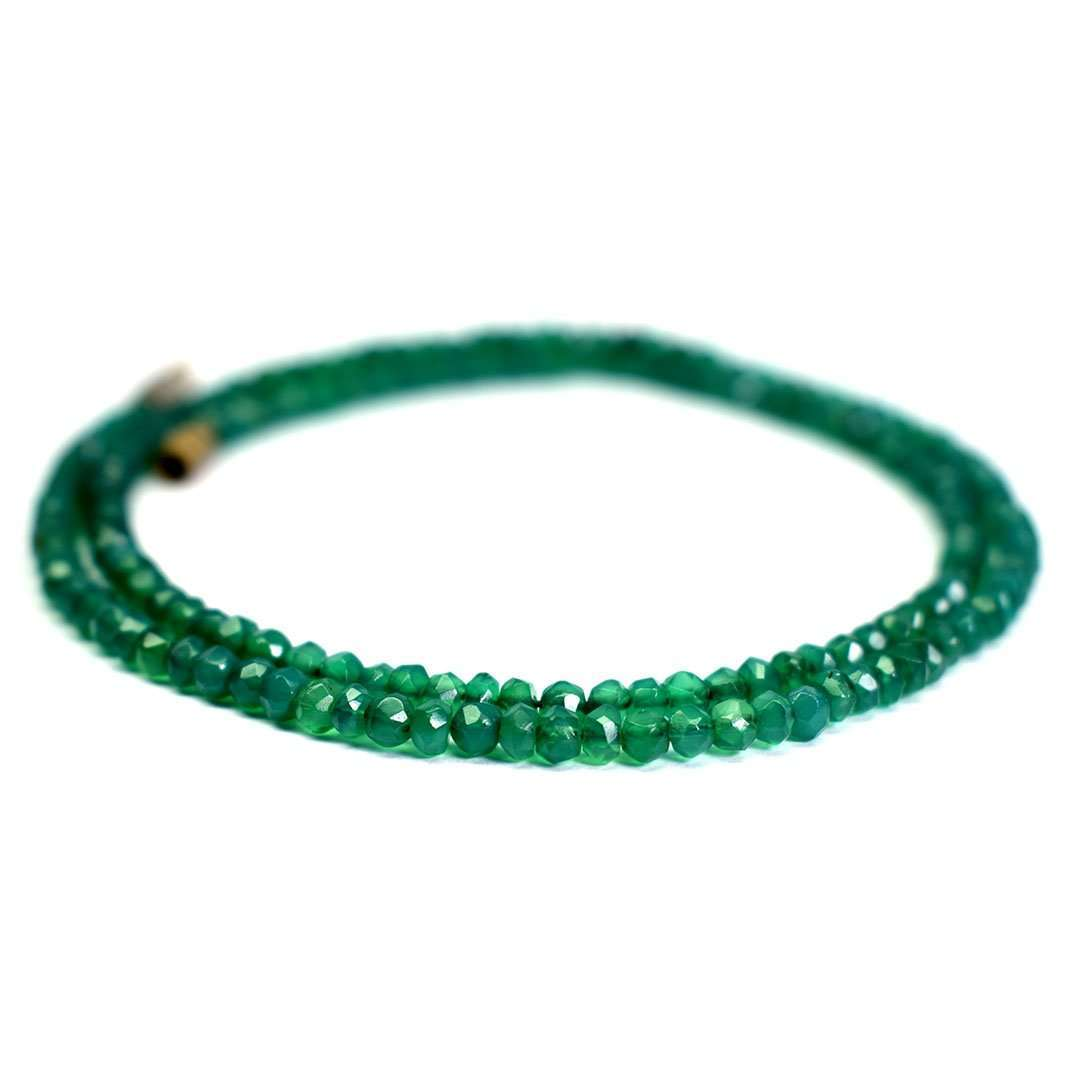 Green Onyx Round Faceted Beads Necklace
