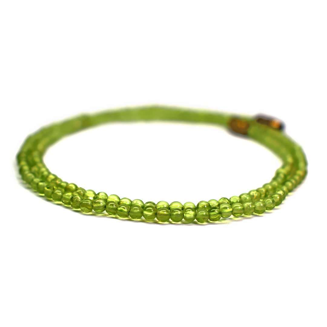 Peridot Round Cabochon Beads Necklace