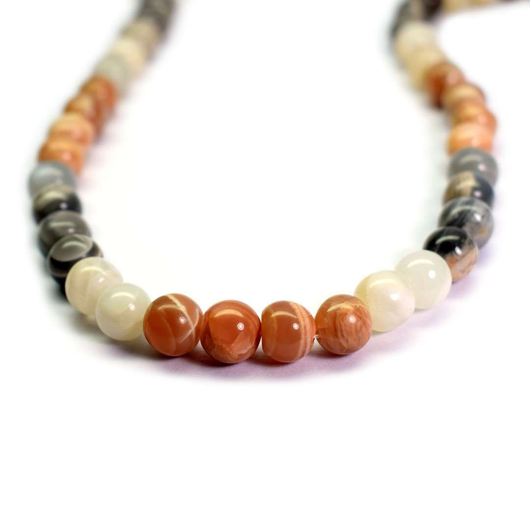 Agate Round Cabochon Beads Necklace