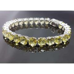 WHITE GOLD PLATED LEMON QUARTZ TENNIS BRACELET