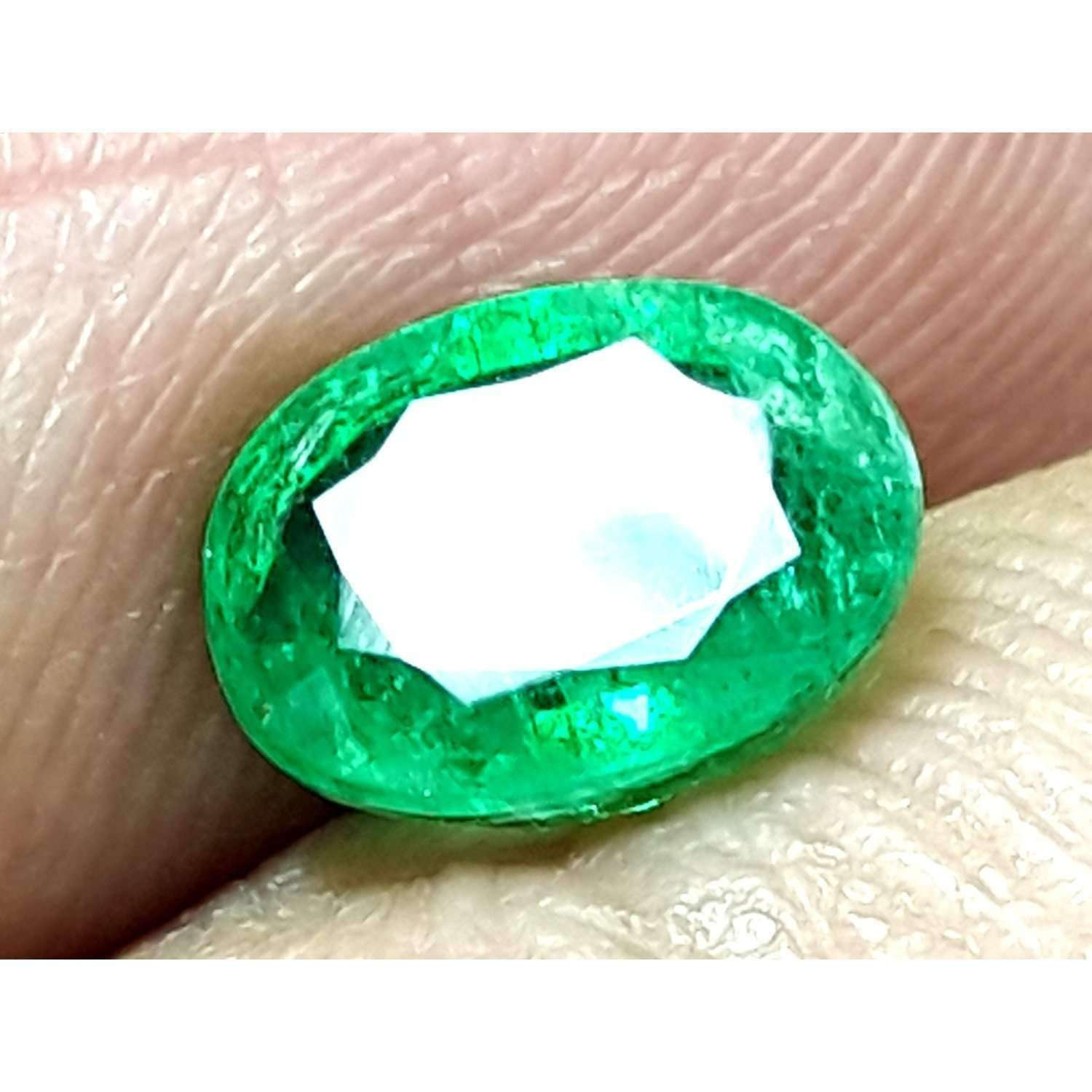 0.95 CT Natural High Luster Zambian Emerald 7 X 5 X 3.4 MM For Ring & Pendant