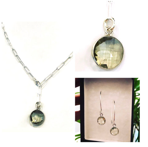 Green Amethyst & Sterling Silver Set