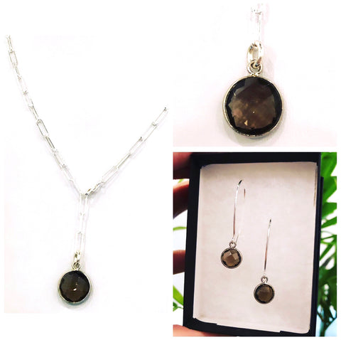 Smoky Quartz & Sterling Silver Set