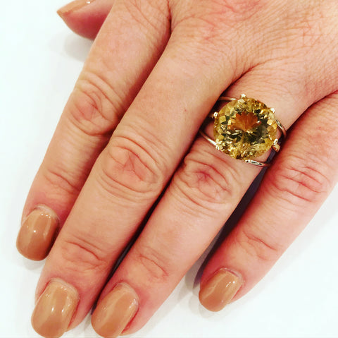 9.44 Carat Citrine & Gold Ring