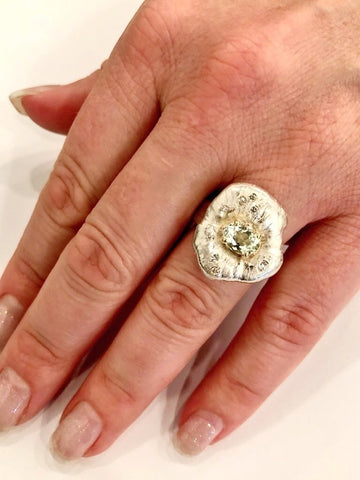 One-of-a-Kind Beryl & Diamond Ring