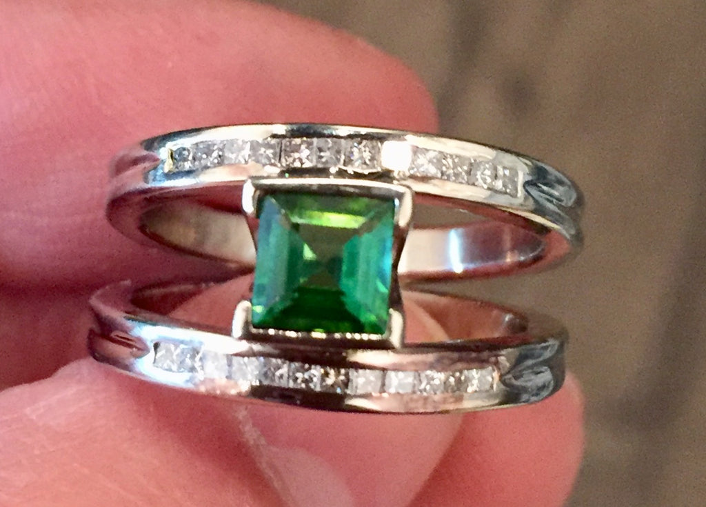 One-of-a-Kind Green Tourmaline Diamond Ring