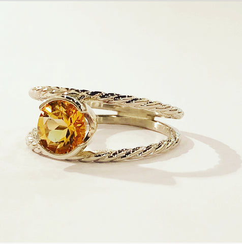 Citrine & 14k White Gold Ring