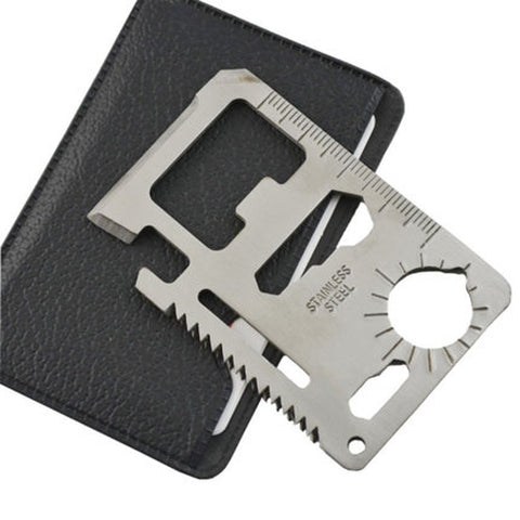 Multi Tools 11 in 1 Multifunction Outdoor Hunting Survival Camping Pocket Military Credit Card With Knife Silver