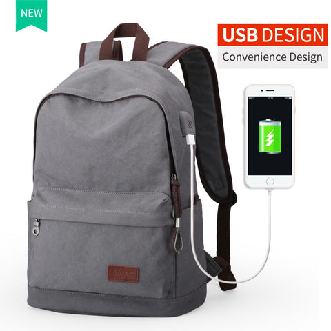 2017 USB Canvas Vintage Mochila Casual Backpack