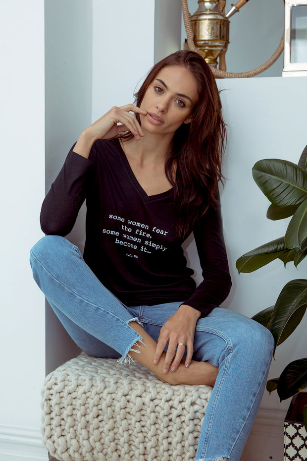 model wearing a Fire tee with long sleeves
