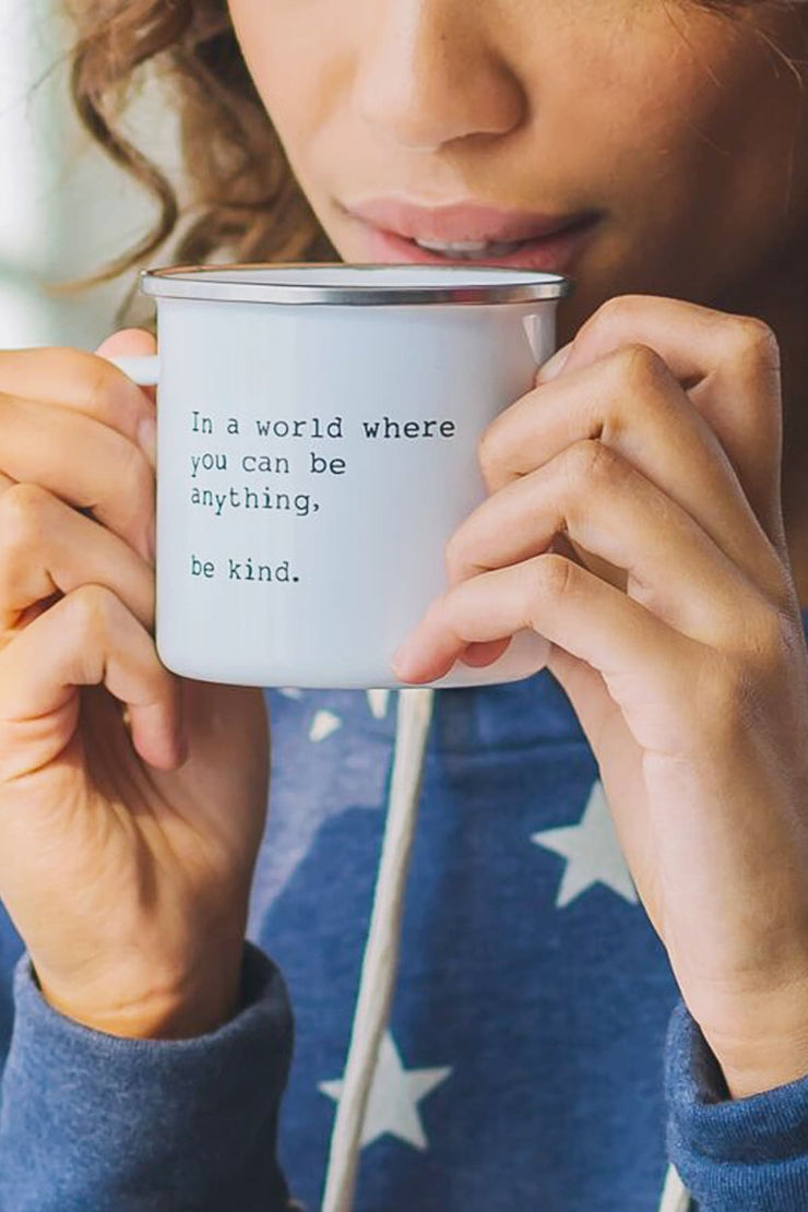 """Be Kind"" Enamel Mug"