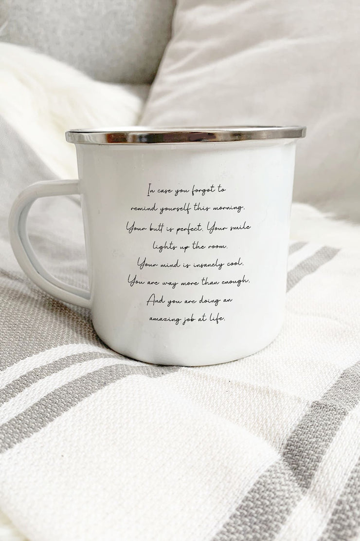 """Morning Mantra"" Enamel Mug"