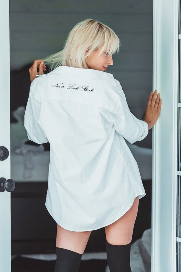 "model in a ""Never Look Back"" Boyfriend Shirt"
