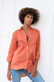 Luxury Linen Boyfriend Shirt in Cayenne (Hidden Message!)