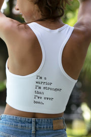 """Warrior"" white yoga activewear bra"