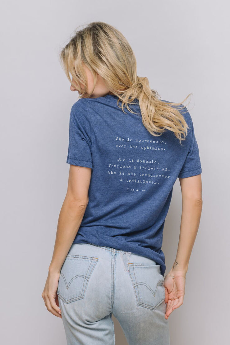 navy tee with the I Am Aries quote