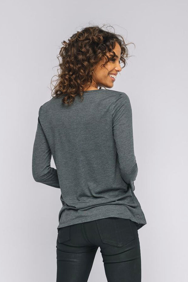 dark grey long sleeve Strong Heart v neck t-shirt