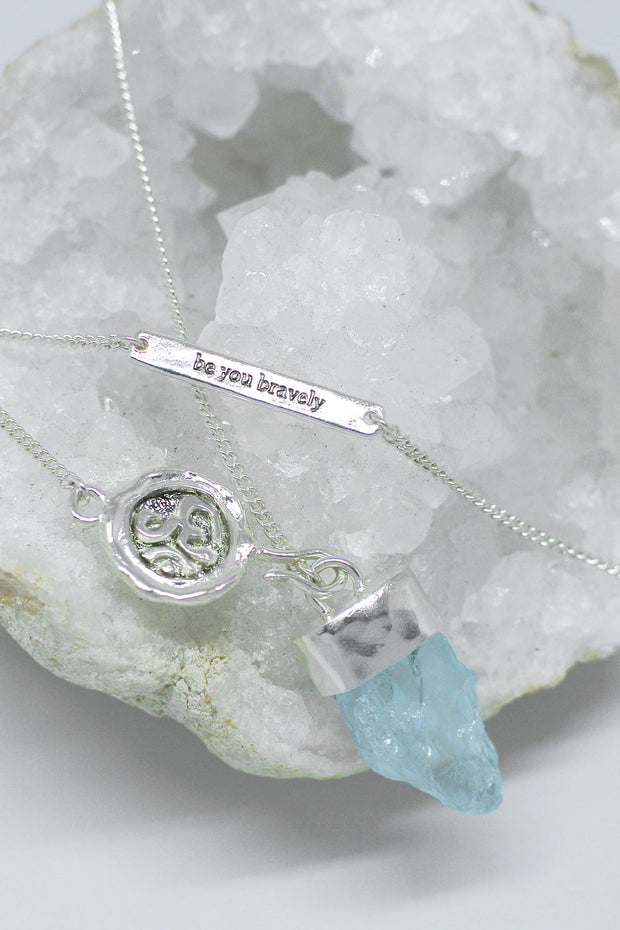Aquamarine 'Be You Bravely' Necklace