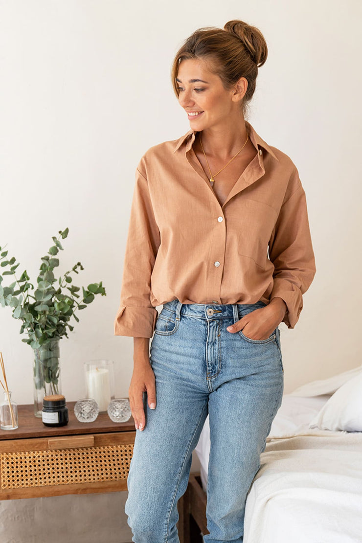 Luxury Linen Boyfriend Shirt in Blush (Hidden Message!)