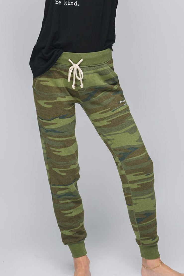 model in cozy camo pants