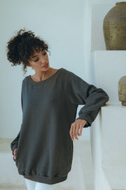 PRE ORDER Luxury Embroidered Pullover in Charcoal