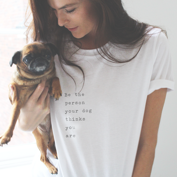 model with a dog and a tee shirt