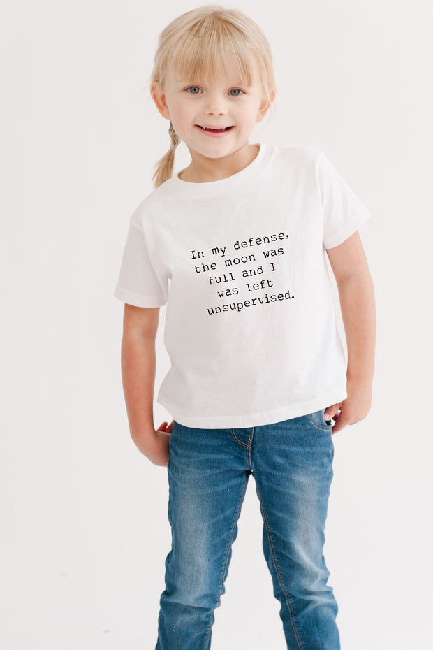 the Full Moon white tee for kids